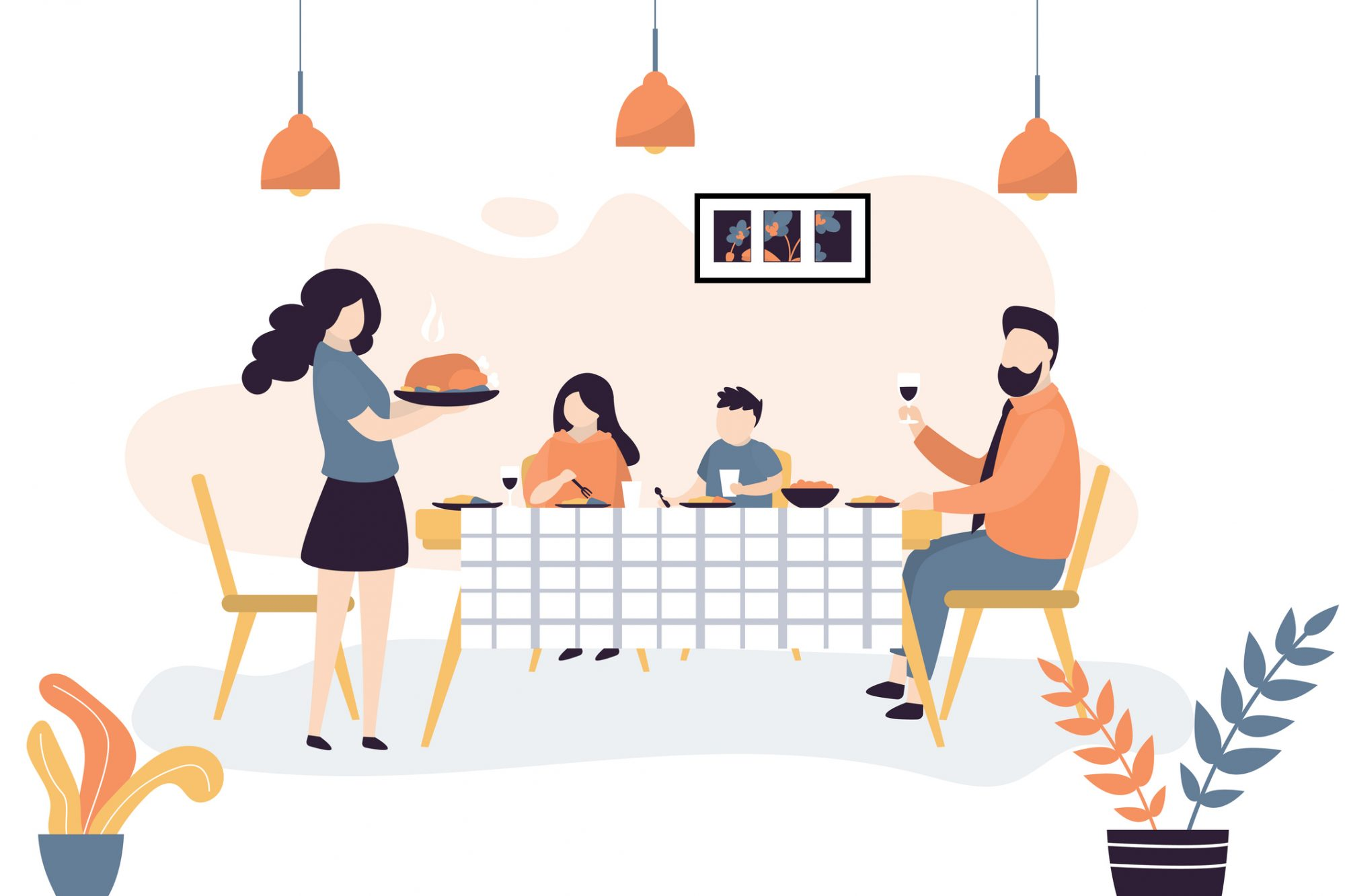 The family is sitting at the table. People eat together. Family portrait, parents and two children. Room interior with furniture
