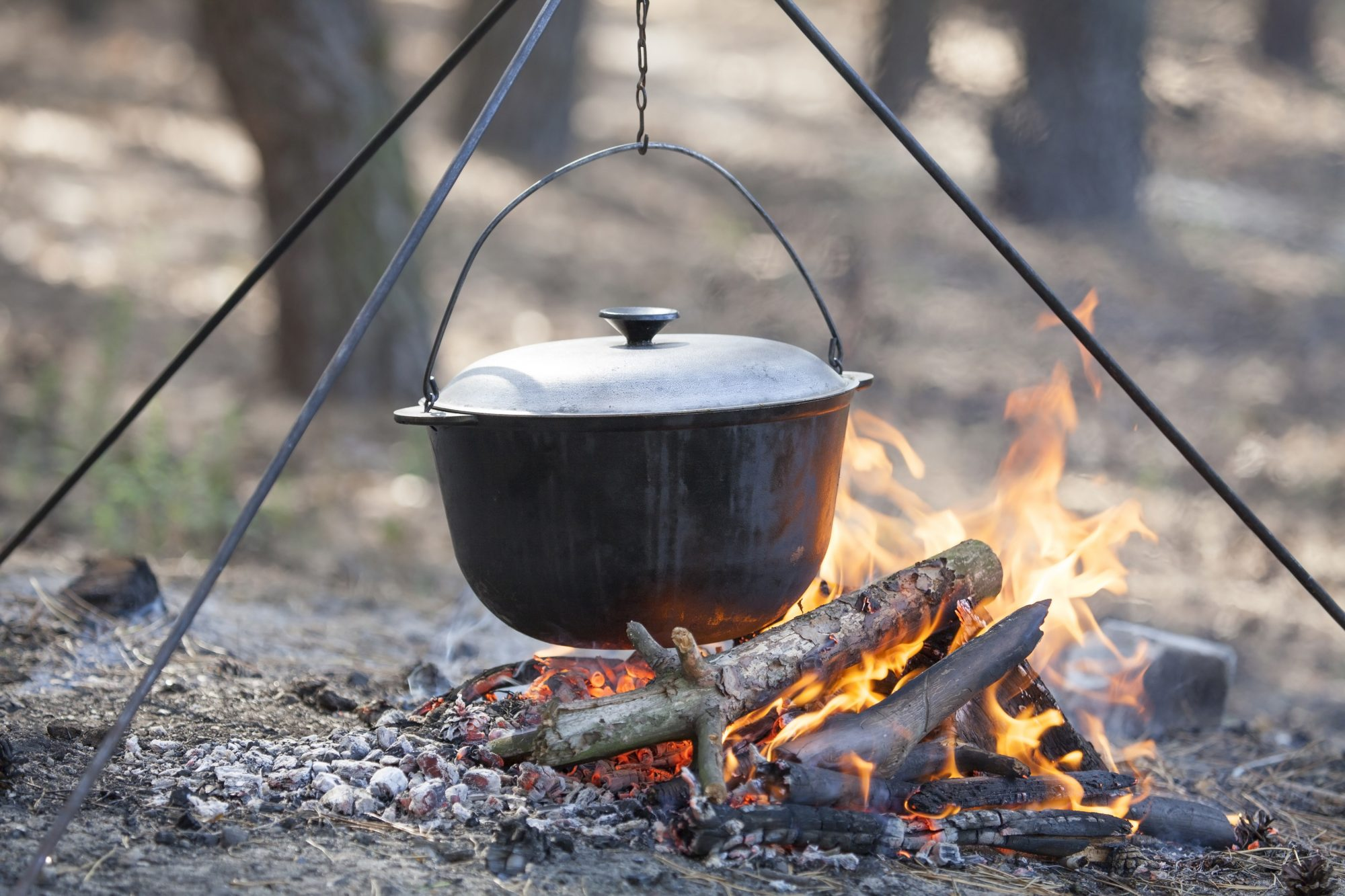 dutch oven cooking over campfire