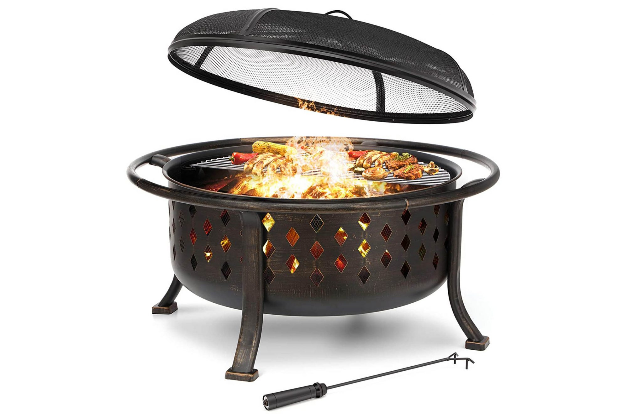 """KINGSO 36"""" Fire Pit Outdoor Large Steel Wood Burning Fire Pits"""
