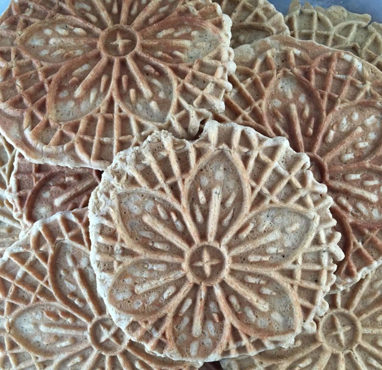 pizzelles in a stack