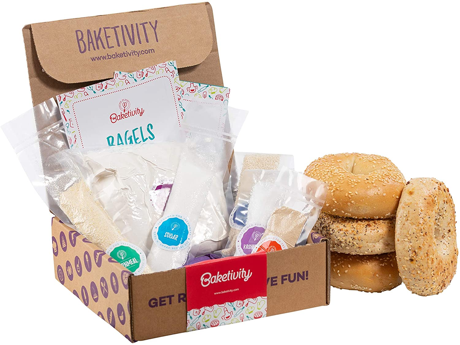 Baketivity kit with baking supplies measured out in bags and baked bagels on the side