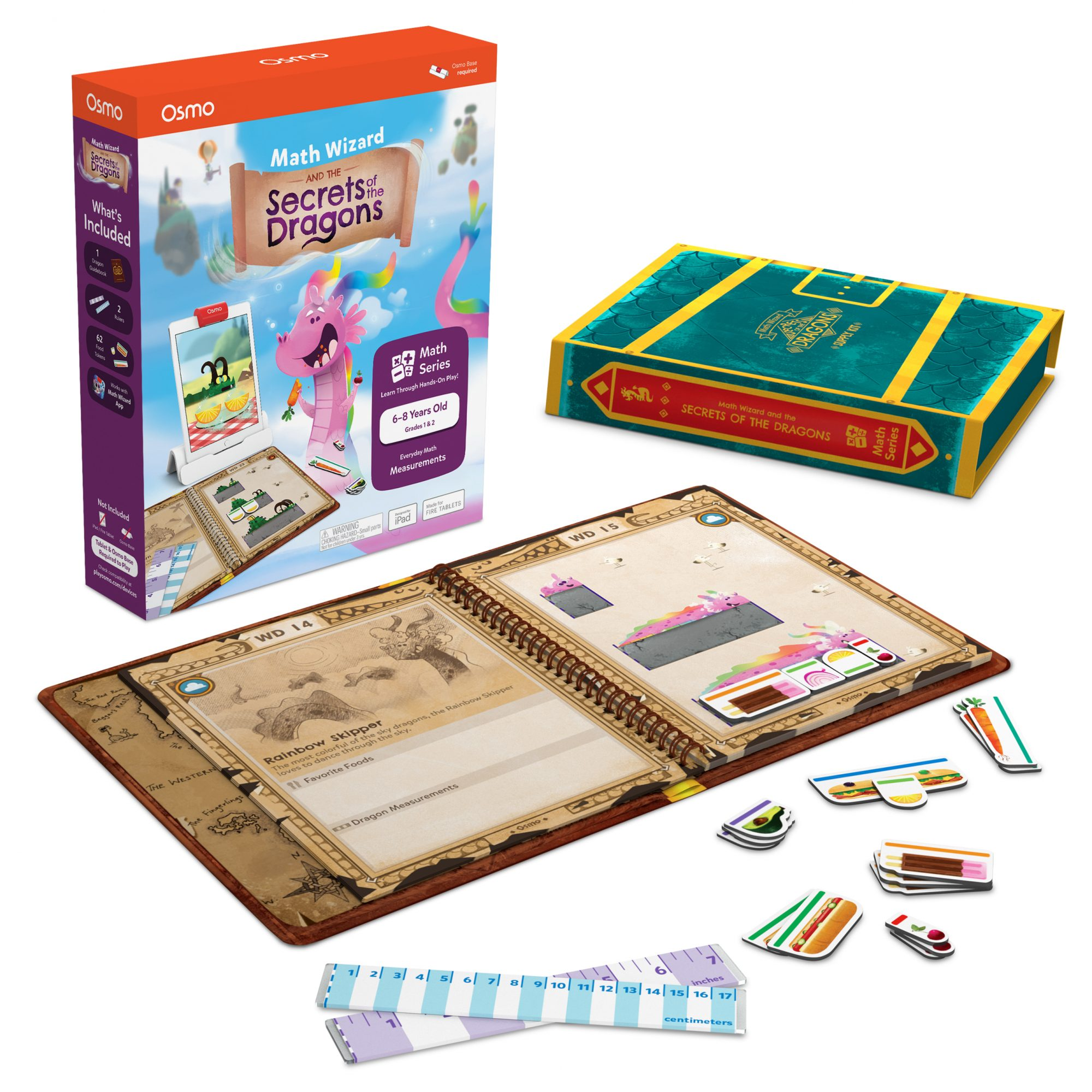 Secrets of the Dragons game box and booklet with game pieces