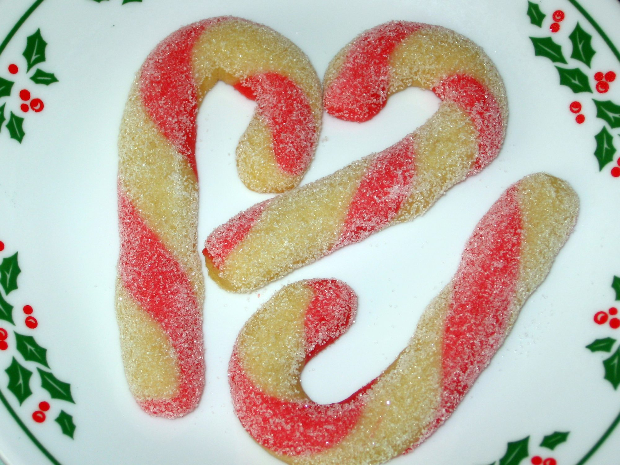 Regular and dyed cookie dough twisted together to emulate a candy cane