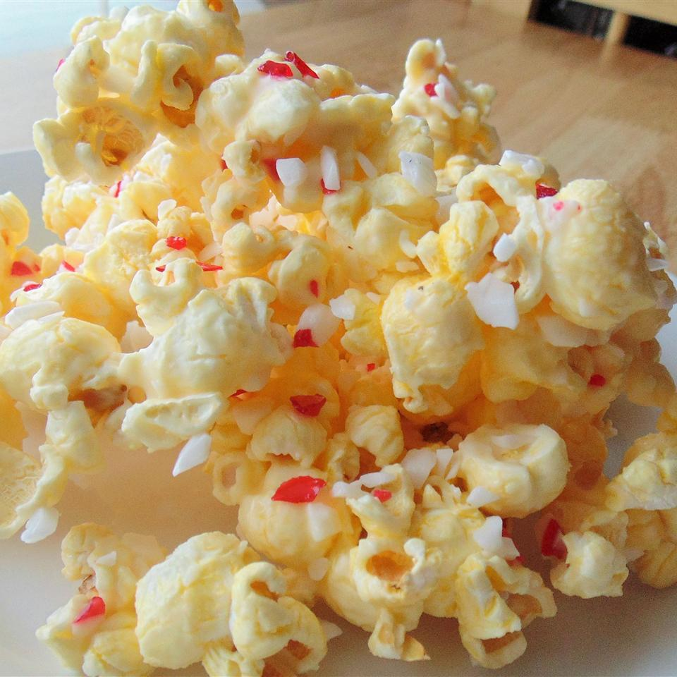 buttered popcorn with white chocolate pieces and peppermint bark