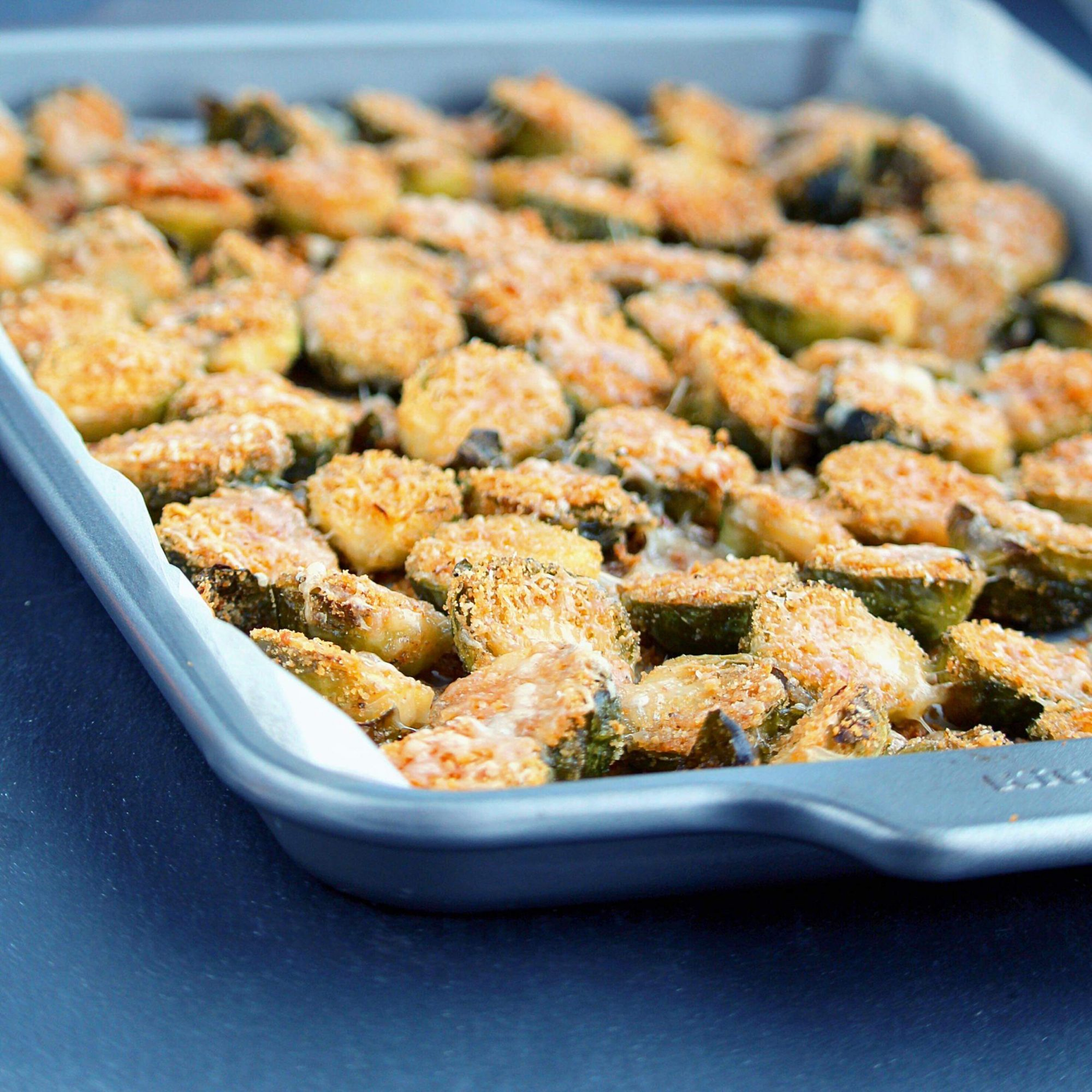 roasted Brussels sprouts coated in Parmesan