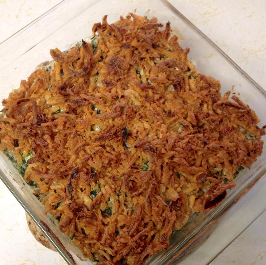 spinach casserole topped with fried onions