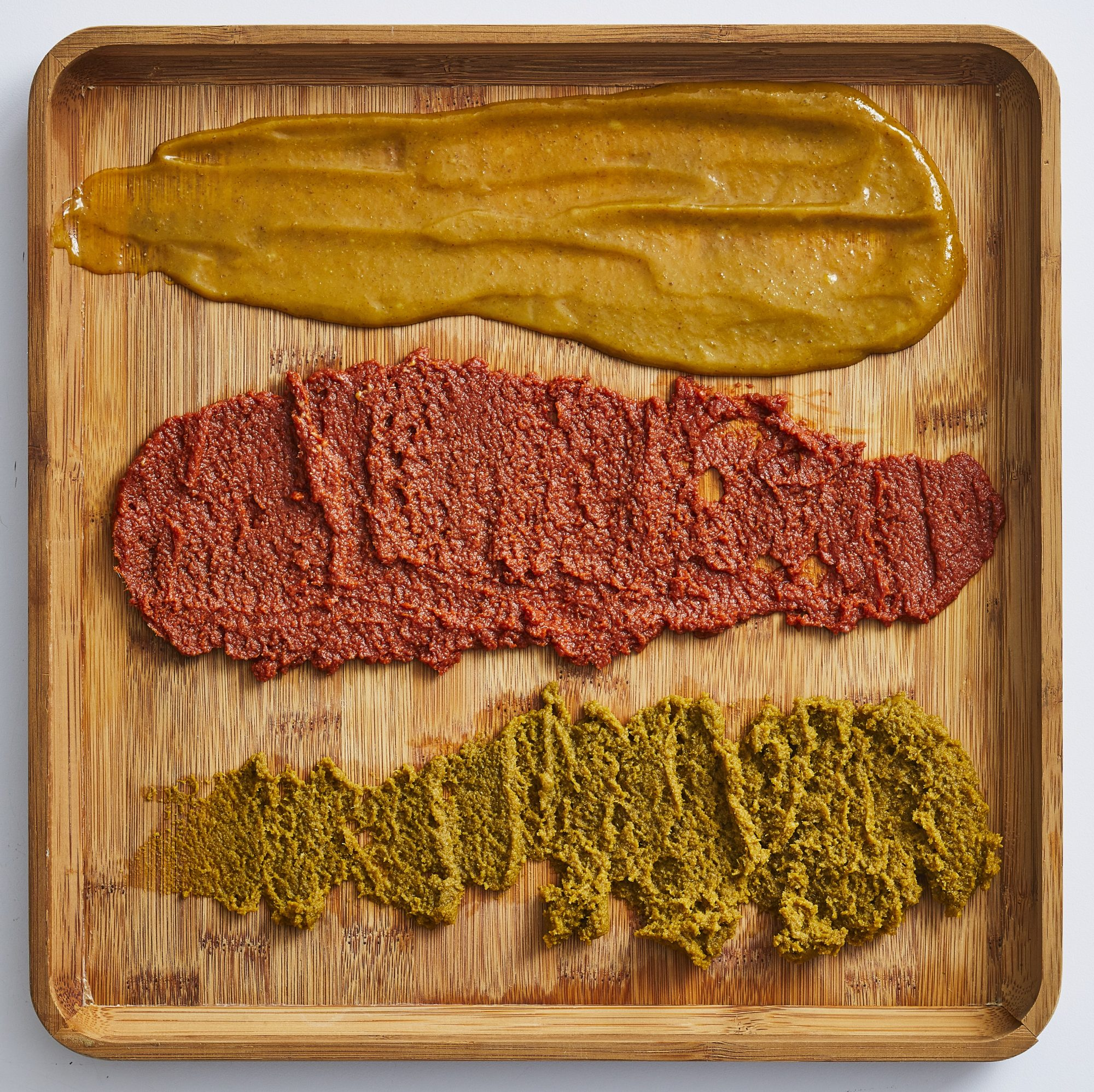 Red, yellow, and green curry paste