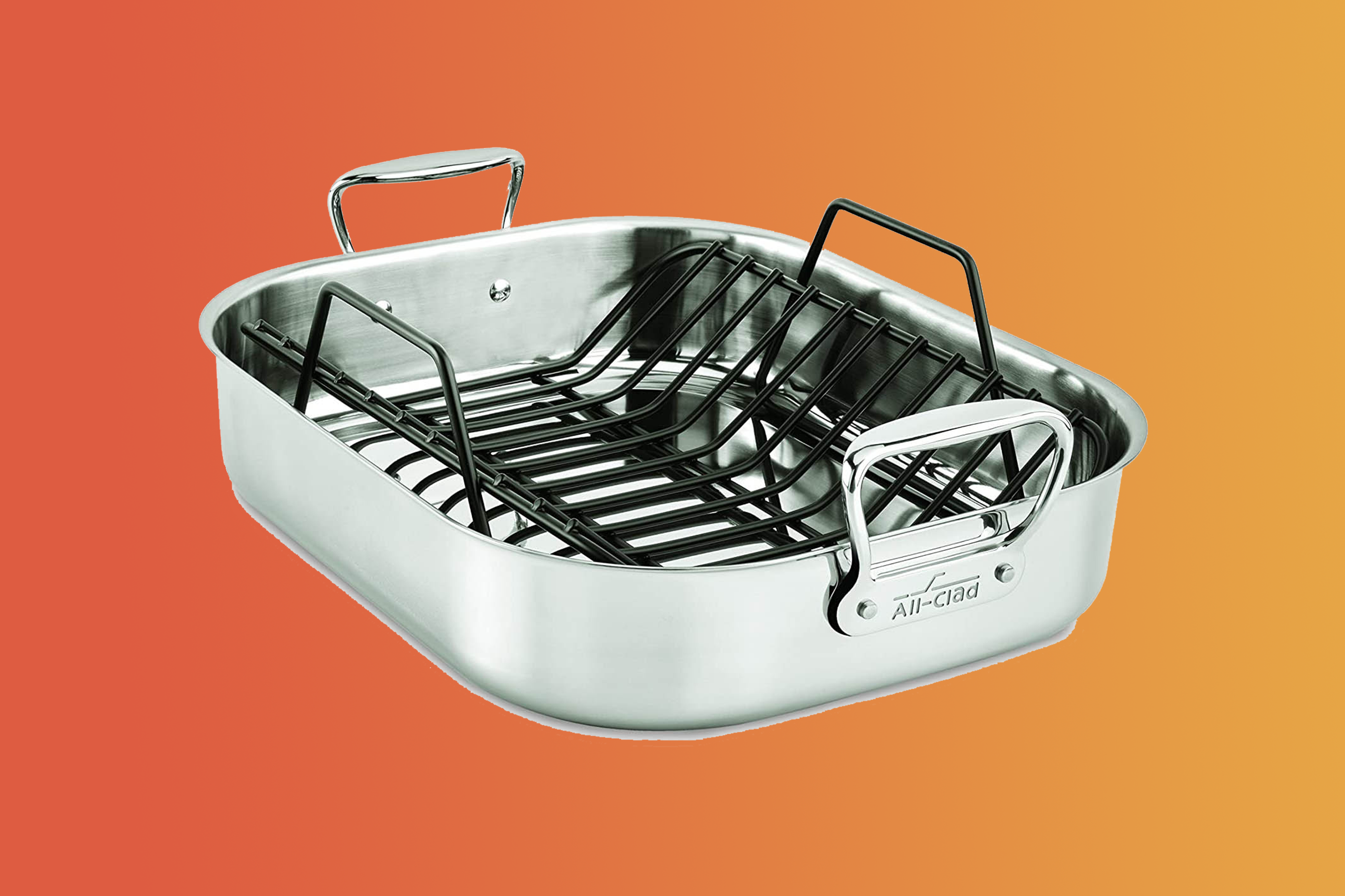 All-Clad Stainless Steel E752C264 Dishwasher Safe Large 13 x 16-Inch Roaster with Nonstick Rack Cookware