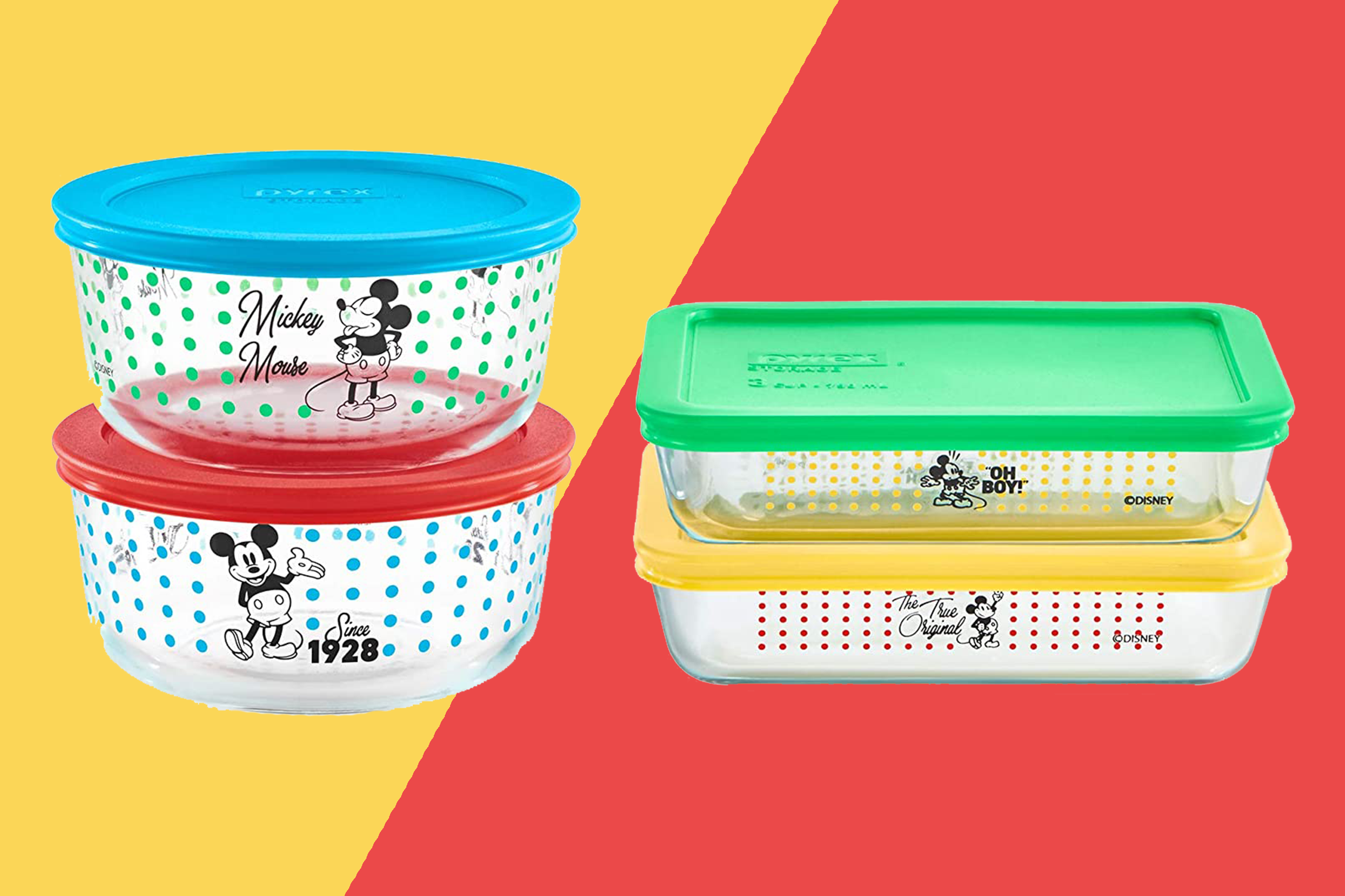 pyrex mickey mouse bowls stacks on a two-tone background