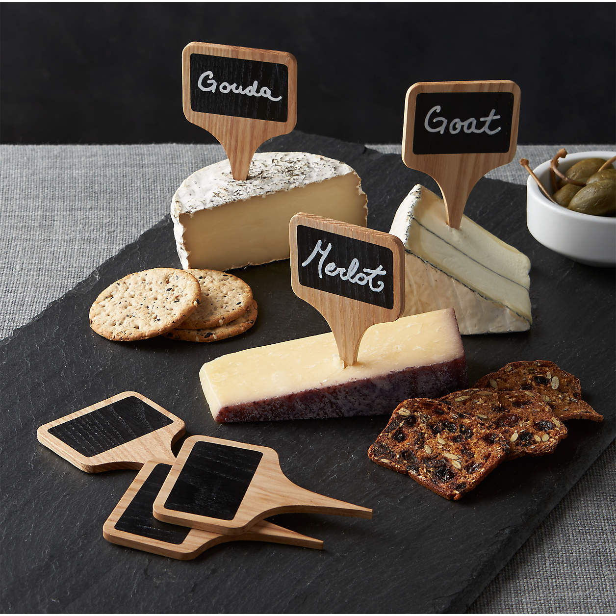 wood and chalkboard cheese markers
