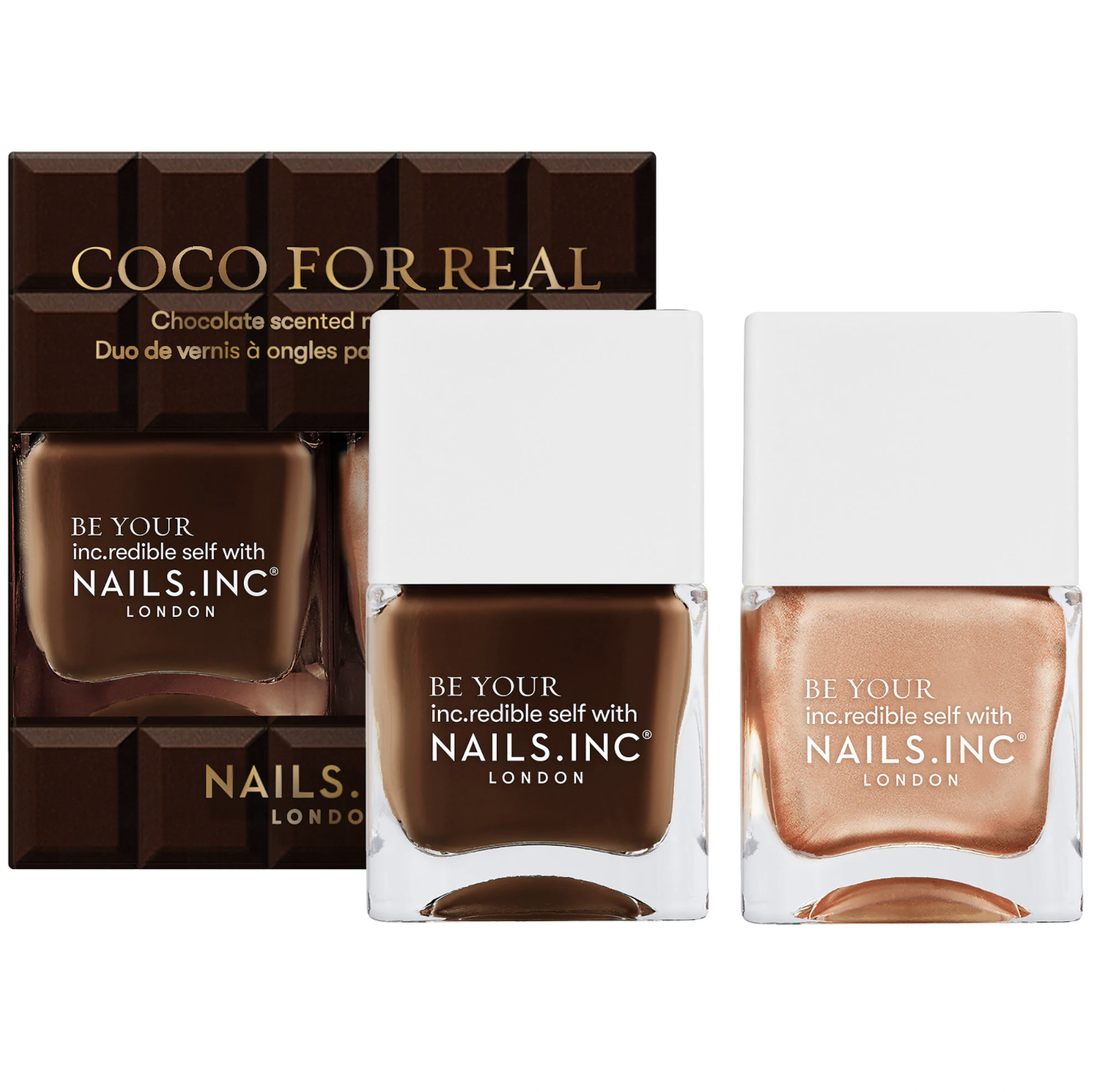 two bottles of chocolate-inspired nail polish