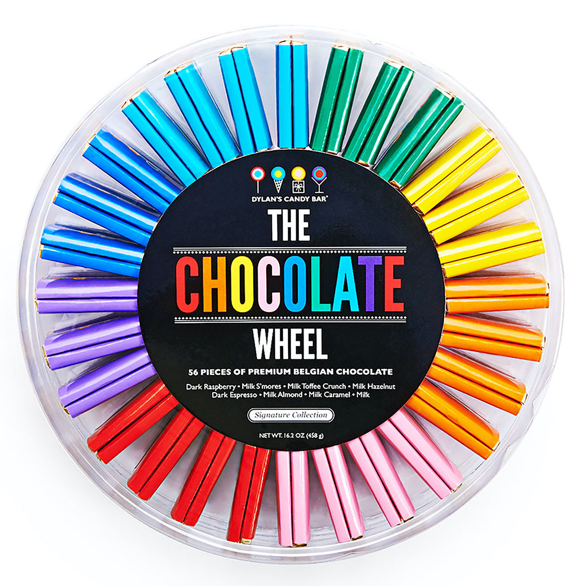chocolate wrapped in various colors arranged in a wheel shape