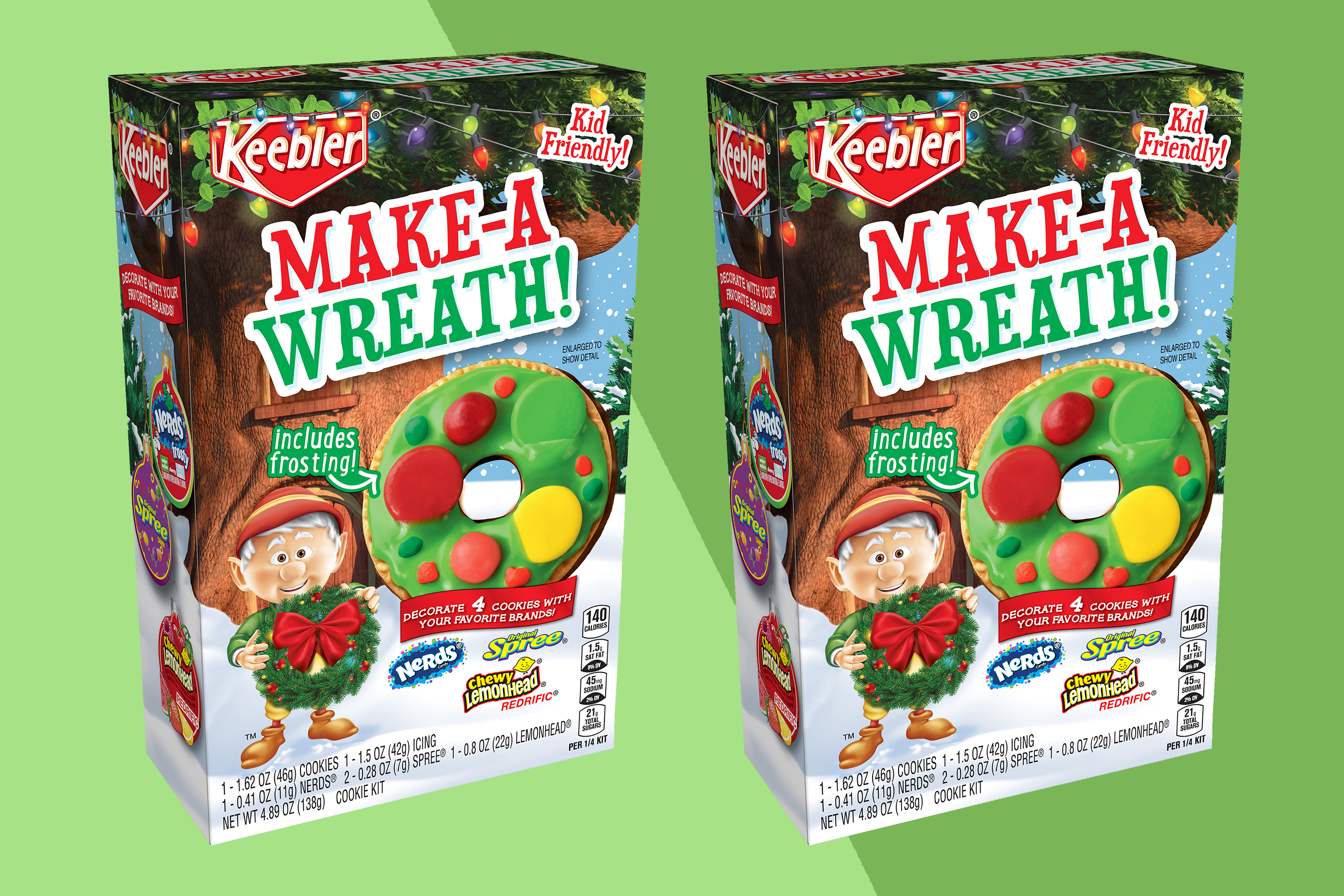 Keebler Make-a-Wreath Cookie Decorating Kits on two-tone green background