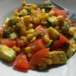 southwestern salad with corn, avocados, and tomatoes