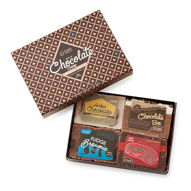 four chocolate soaps in a box