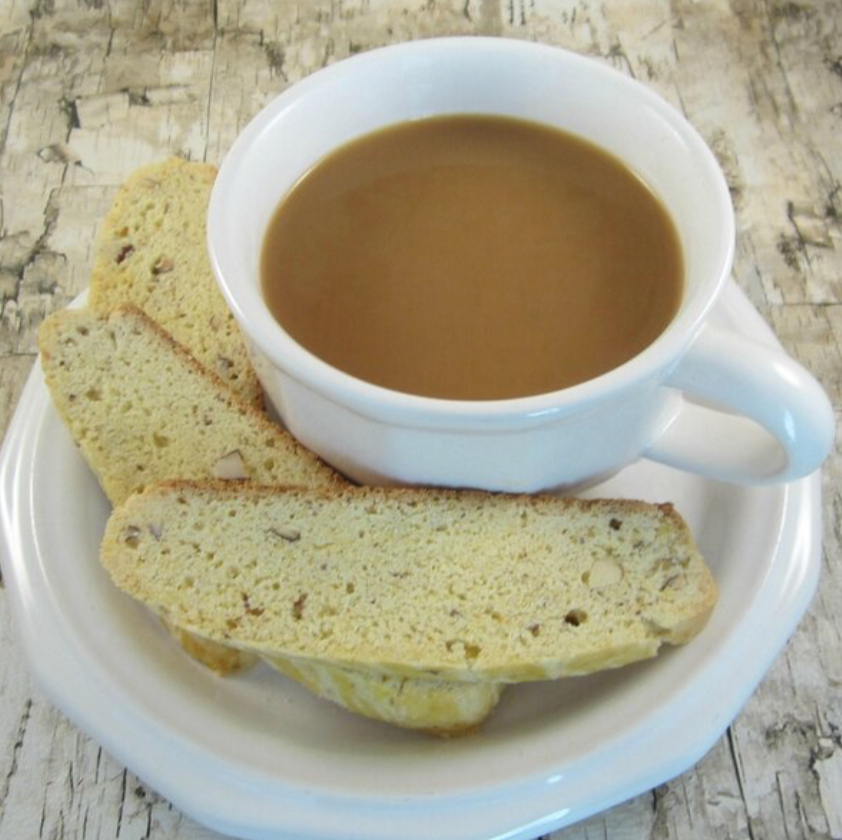 almond biscotti with coffee