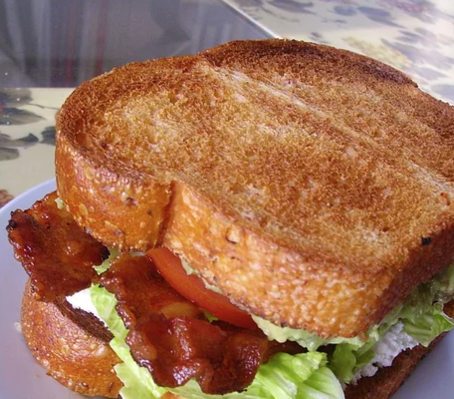 close up BLT sandwich on toasted bread