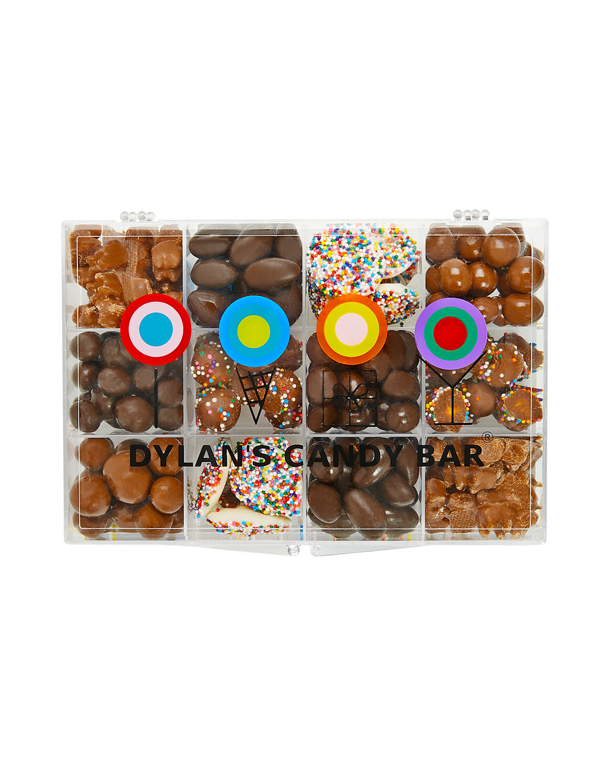 assorted chocolates in a clear box