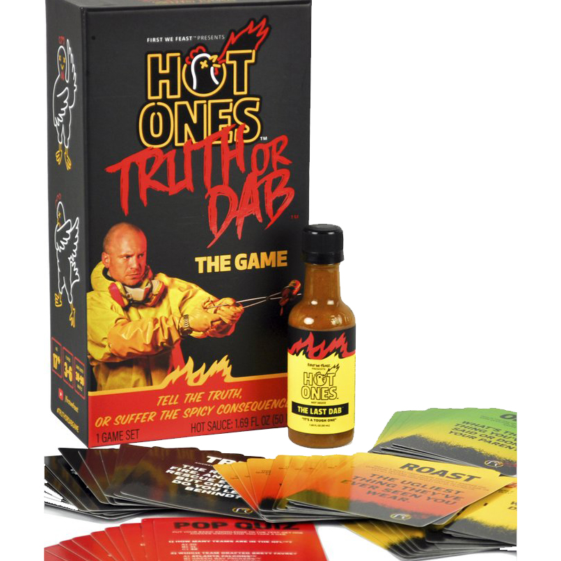 Truth of Dab box with hot sauce and cards