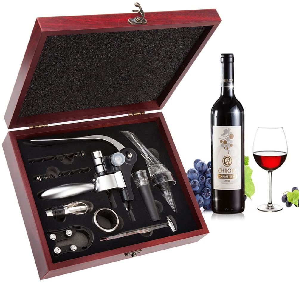 case with a wine opener and bottle