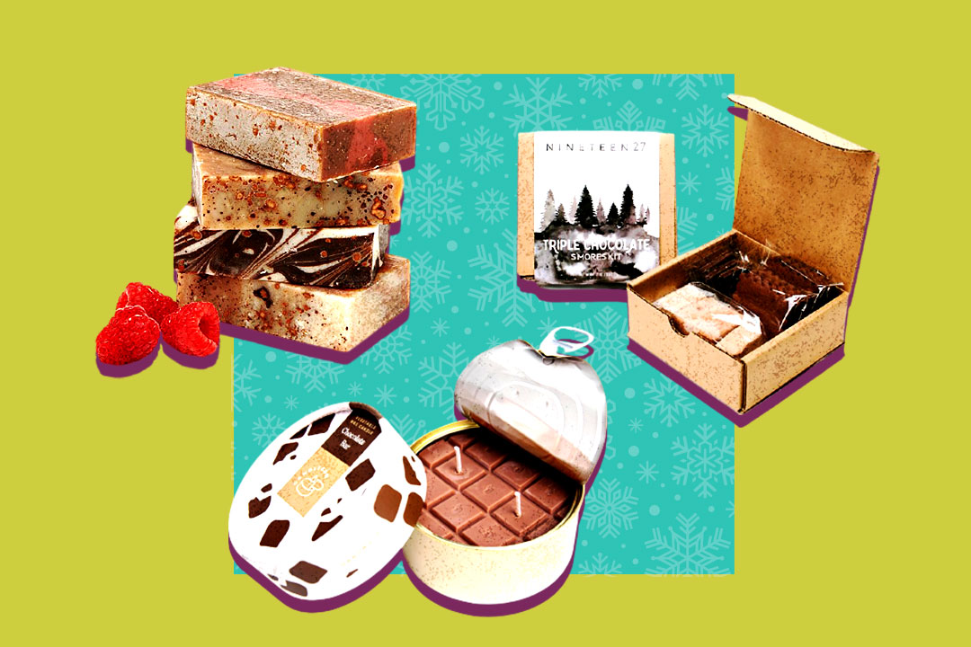 bars of chocolate-infused soap, chocolate bar candle, and chocolate s'mores kit