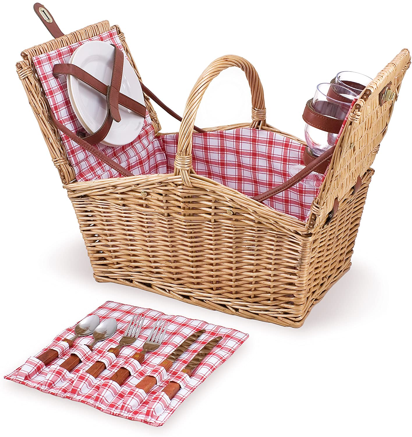 picnic basket with red plaid interior