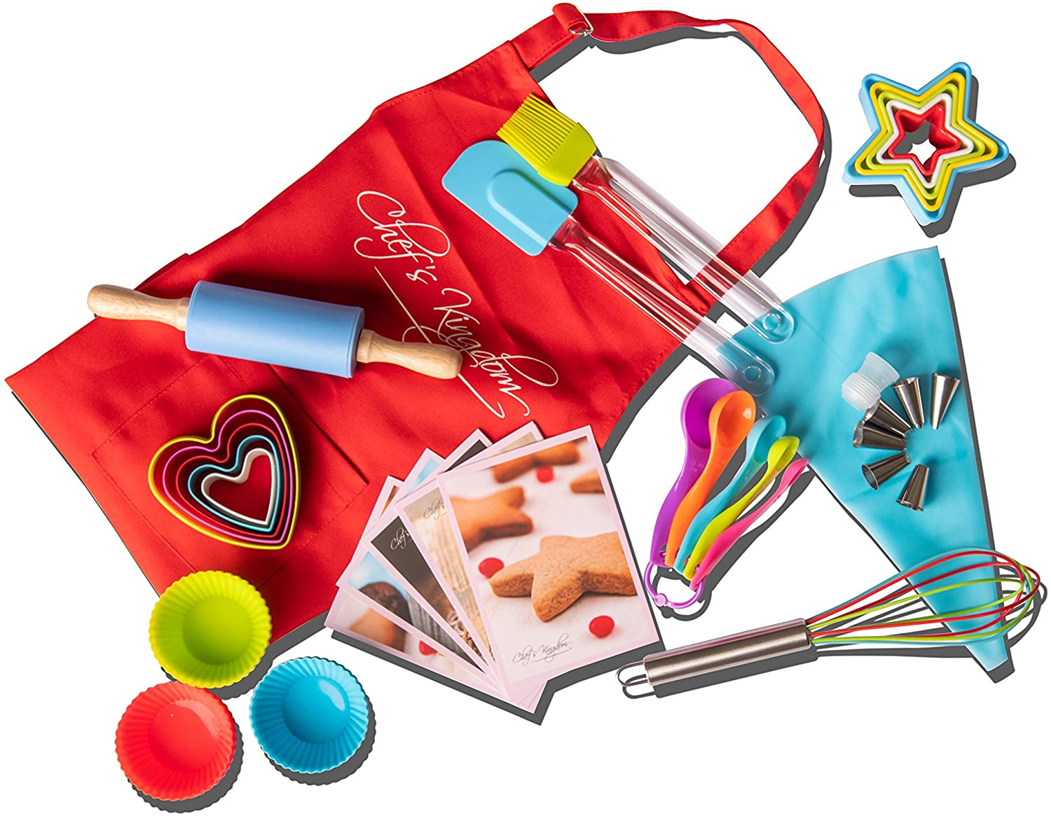 Children's baking set with red apron
