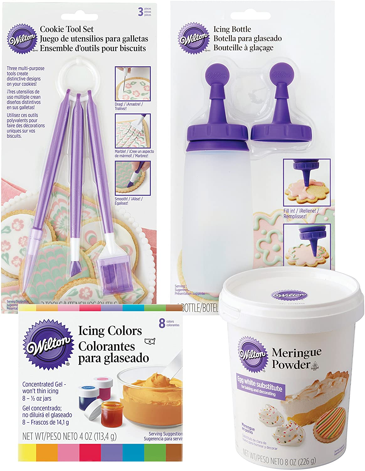 Wilton cookie tools, icing colors, and meringue powder