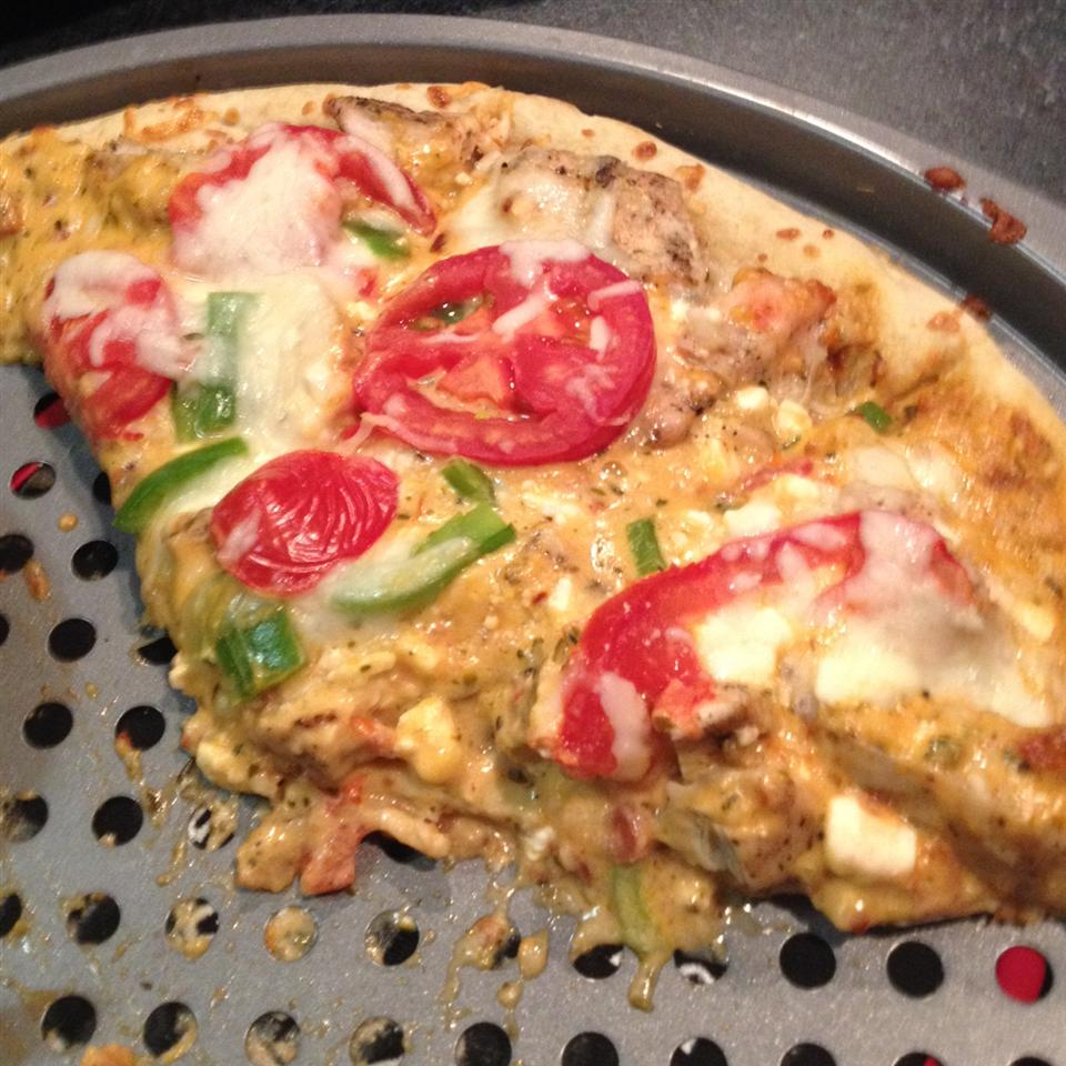 Gourmet White Pizza on a baking sheet