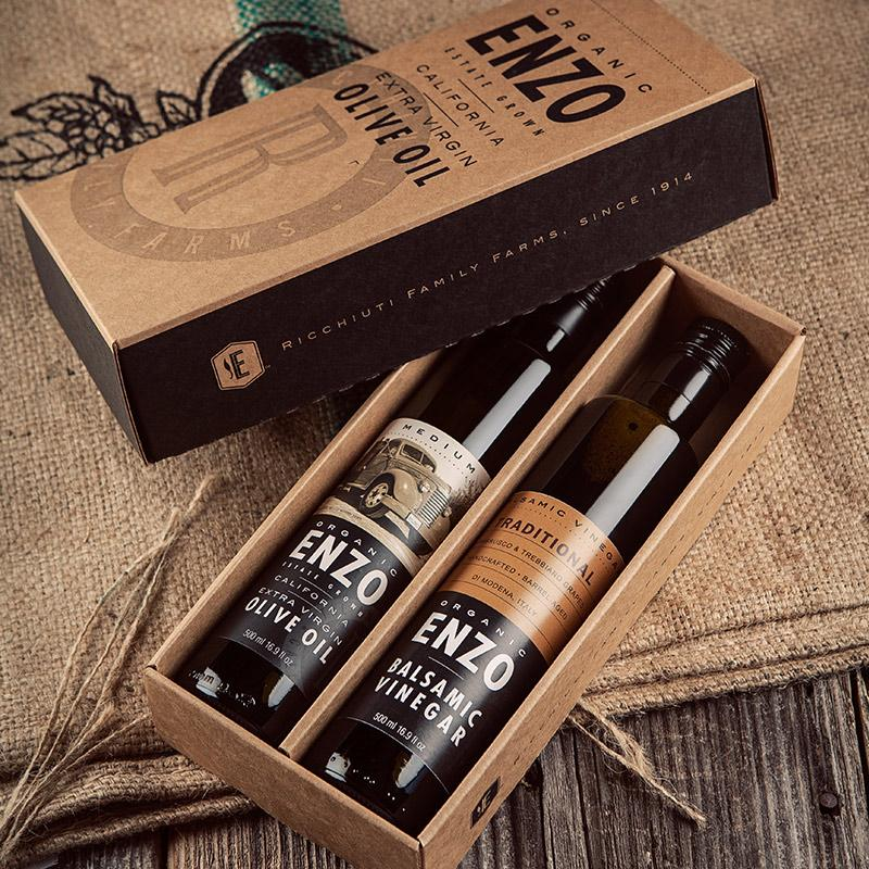 Enzo's table olive oil and balsamic vinegar set in gift box