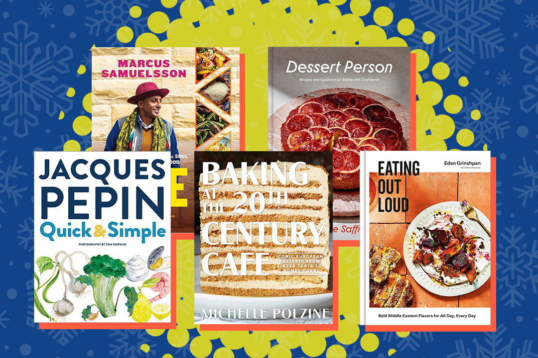 the covers of five cookbooks: Quick & Simple, The Rise, Baking in the 20th Century Cafe, Dessert Person, and Eating Out Loud