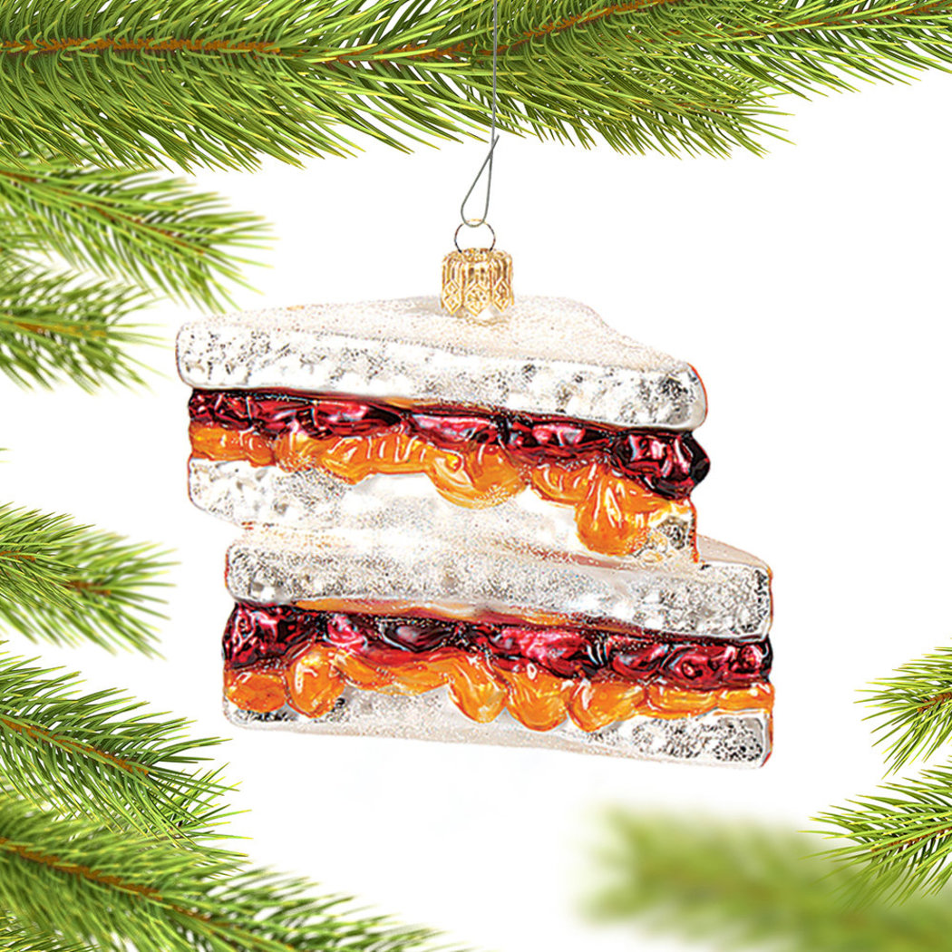 peanut butter and jelly sandwich christmas ornament