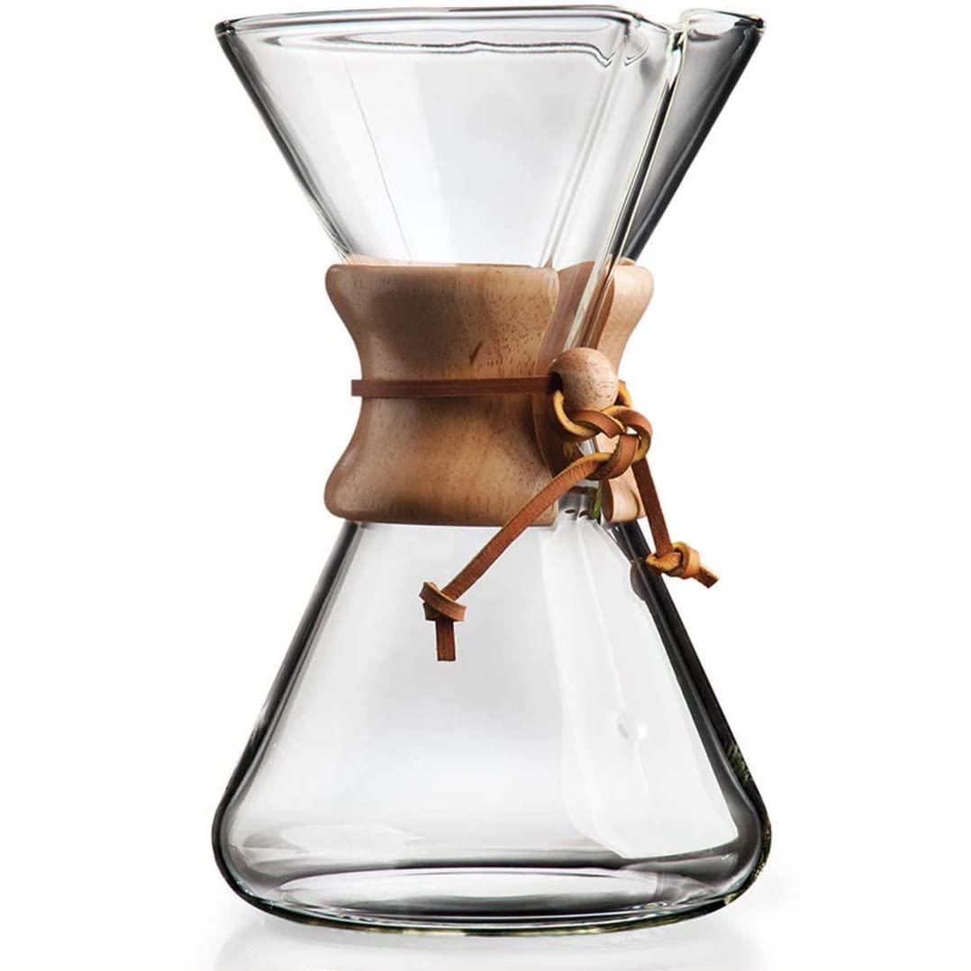 glass CHEMEX pour-over coffee maker with wooden grip
