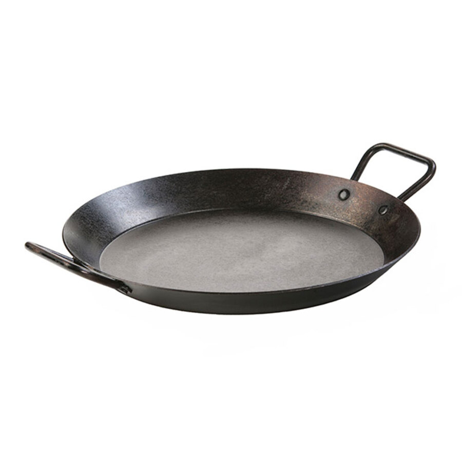 cast iron paella pan with two handles