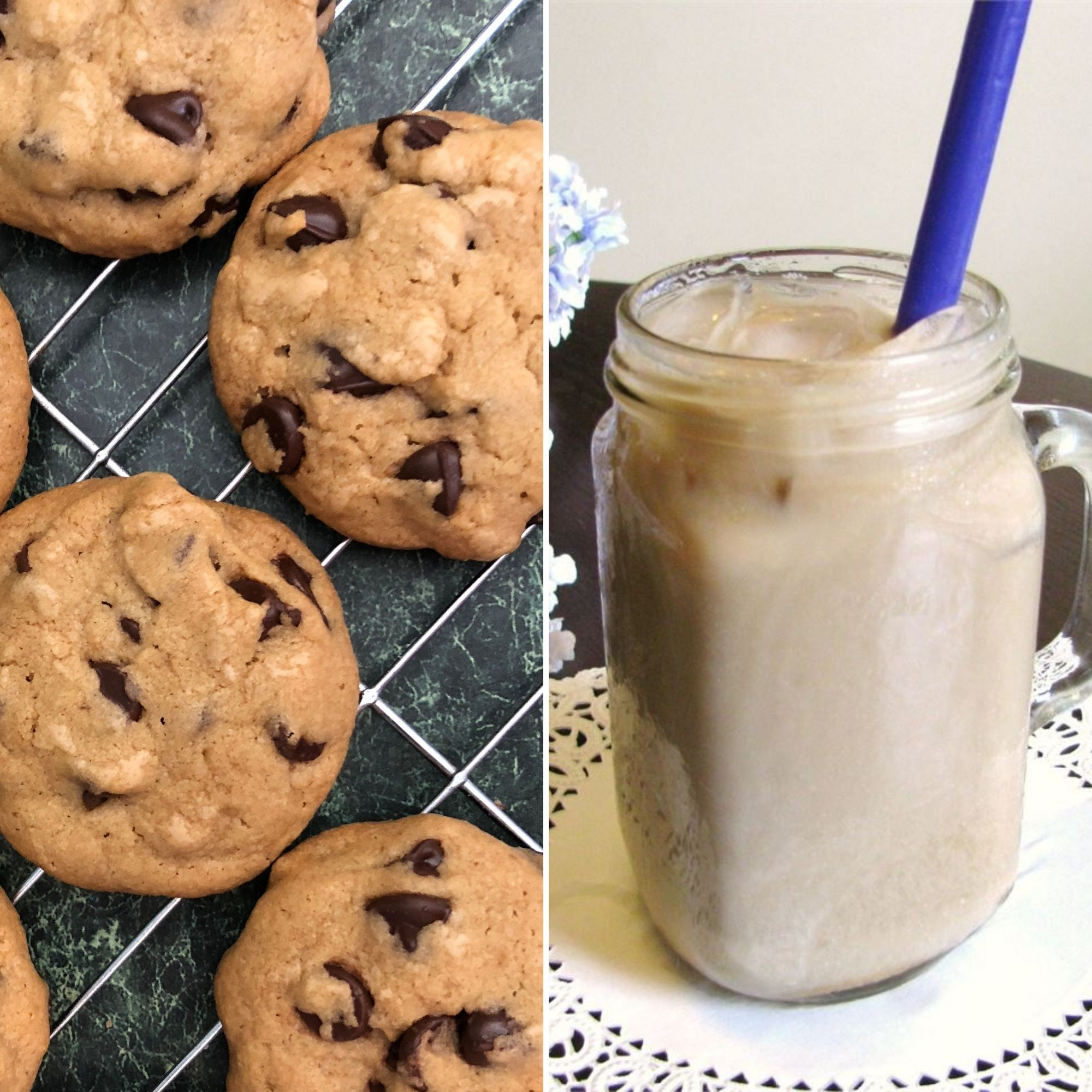 Chocolate chip cookies and a glass of white Russian