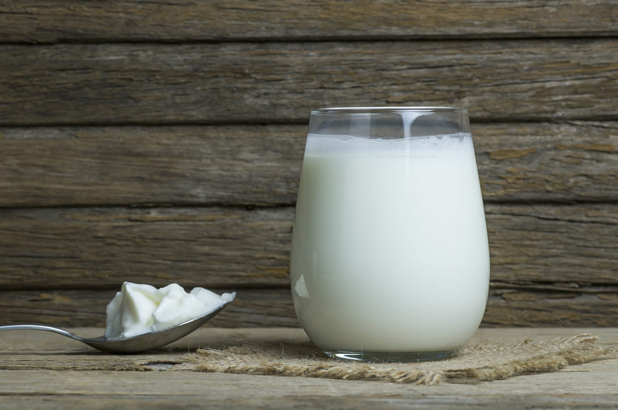 Glass cup of kefir or buttermilk and in a spoon