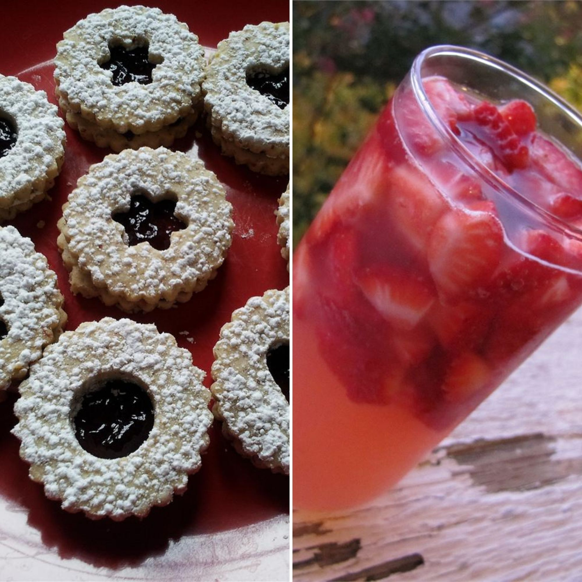 Linzer Cookies and a Rose Cocktail