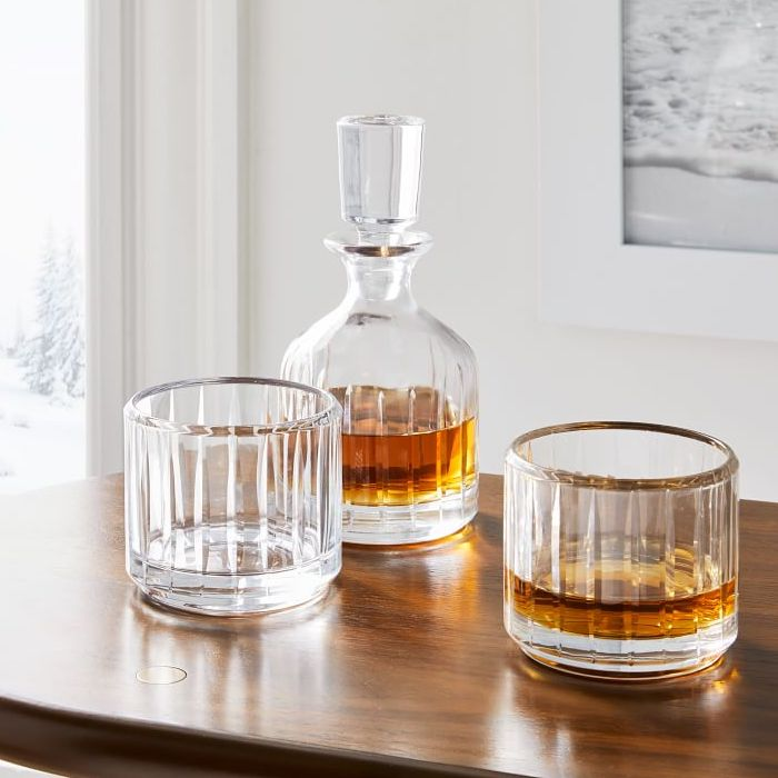 whiskey decanter and two glasses