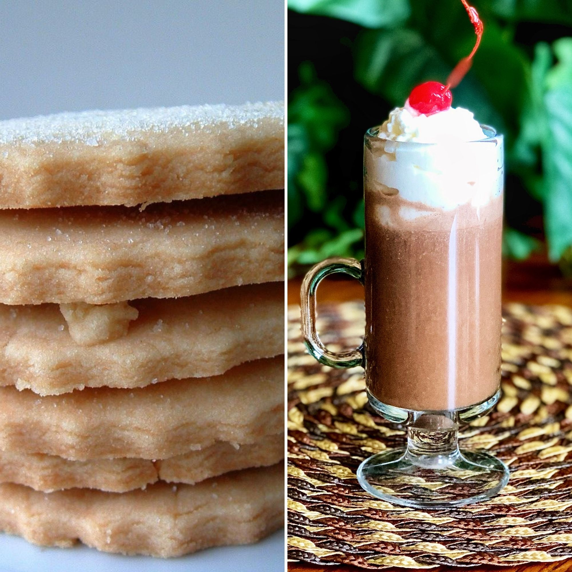 pile of Shortbread Cookies and a Spiked Hot Chocolate