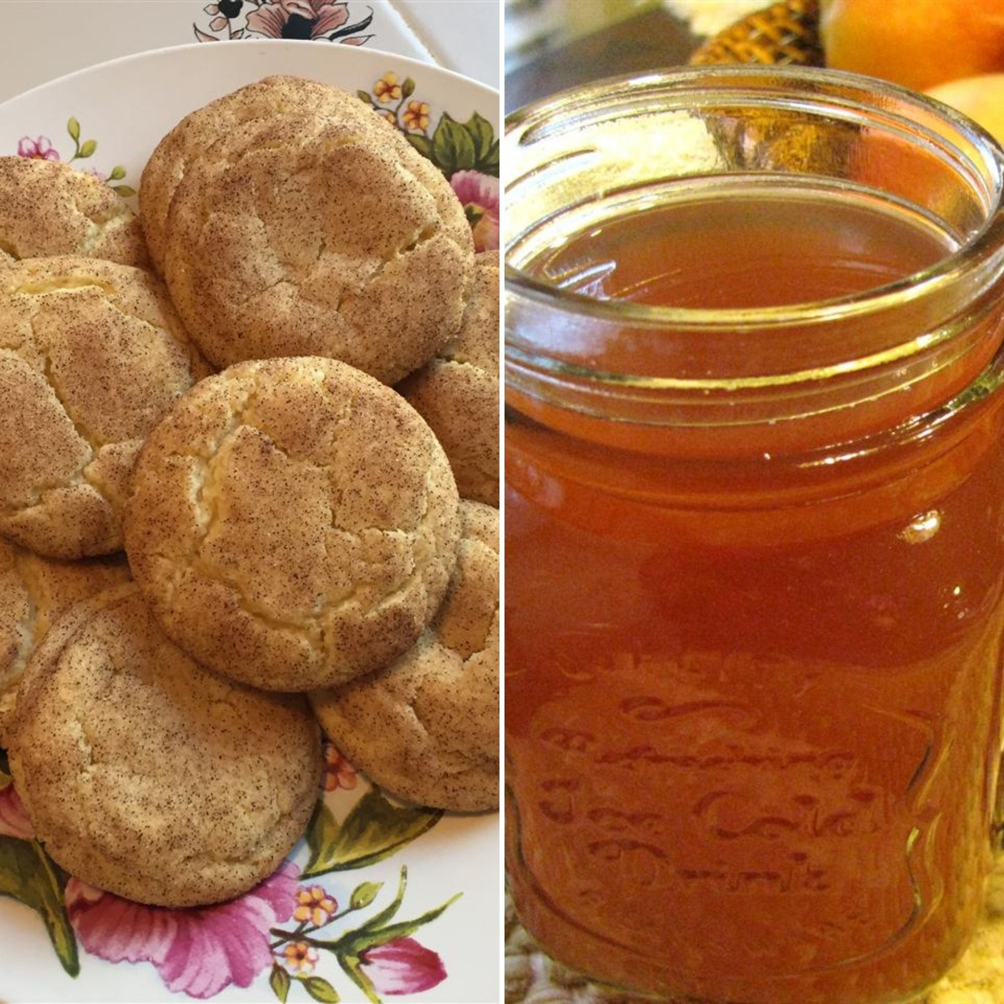 plate of Snickerdoodles and a glass of Apple Cider