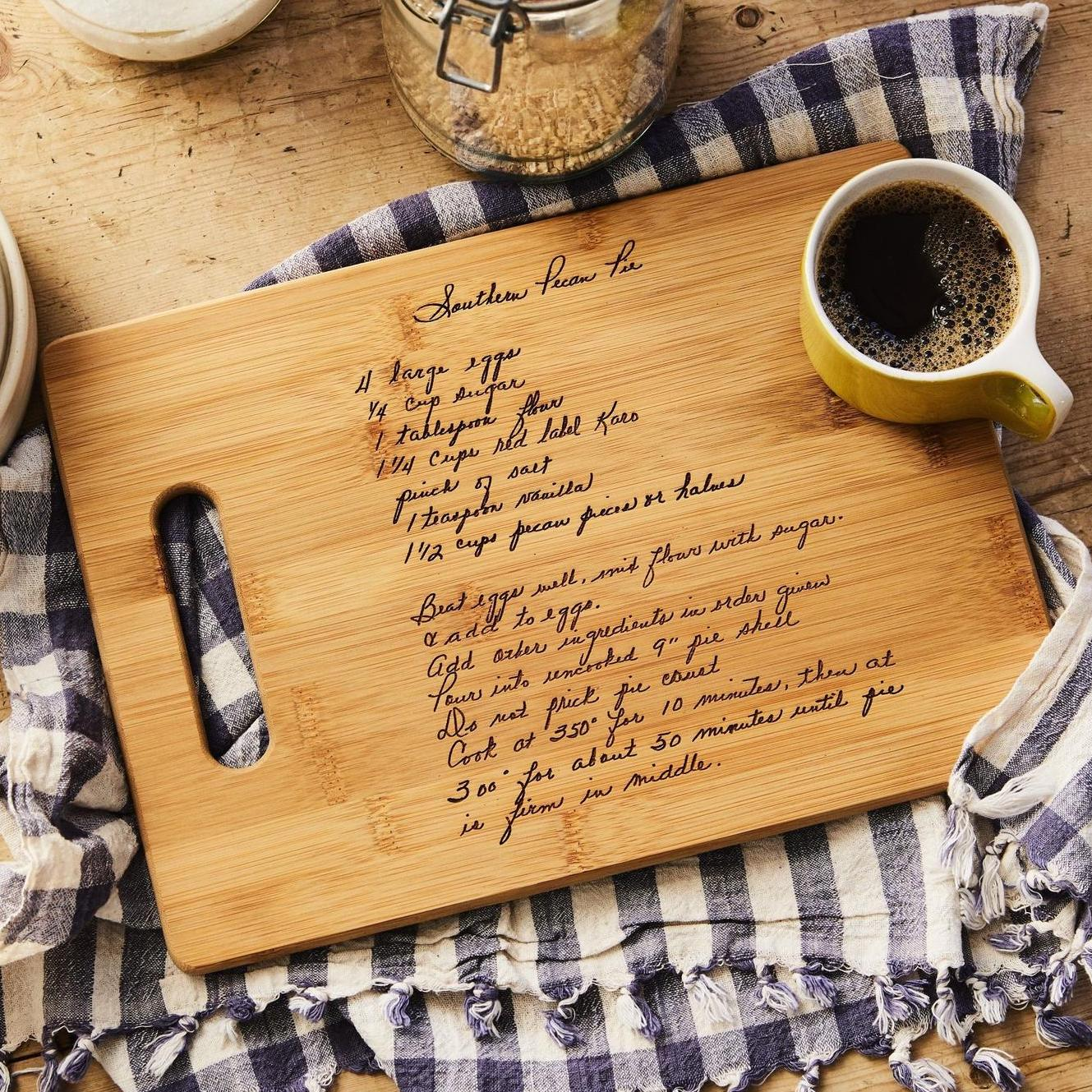 wooden cutting board with laser-engraved recipe