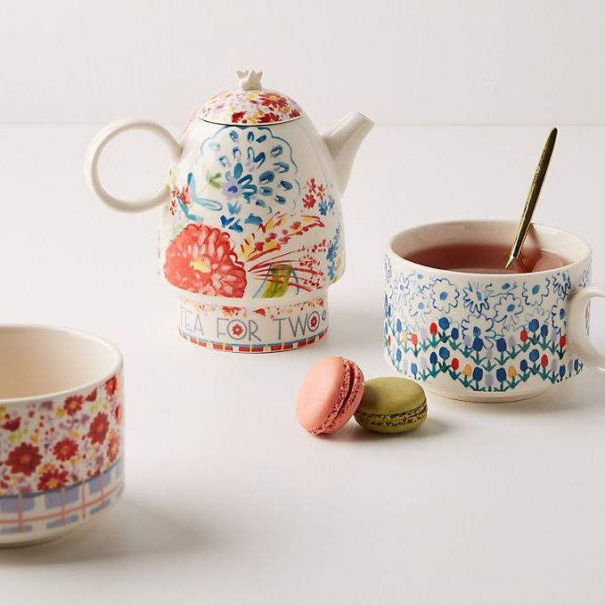 colorful floral teapot with two tea cups