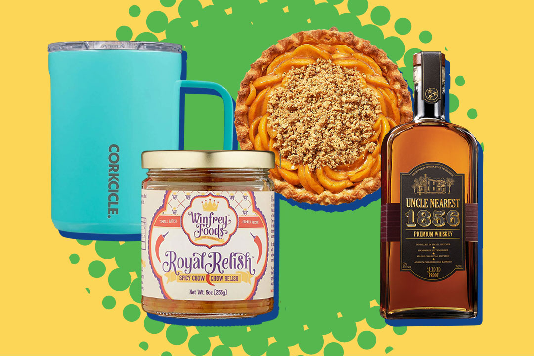 Corkcicle mug, relish, peach pie, and whiskey on green and yellow background