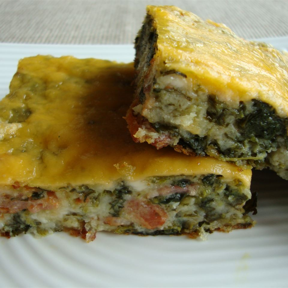 """Yes, you read that correctly. """"They look like brownie squares, but they're definitely not sweet,"""" says bowling nut. This is actually an egg bake with spinach, onion, and mozzarella all cooked inside."""