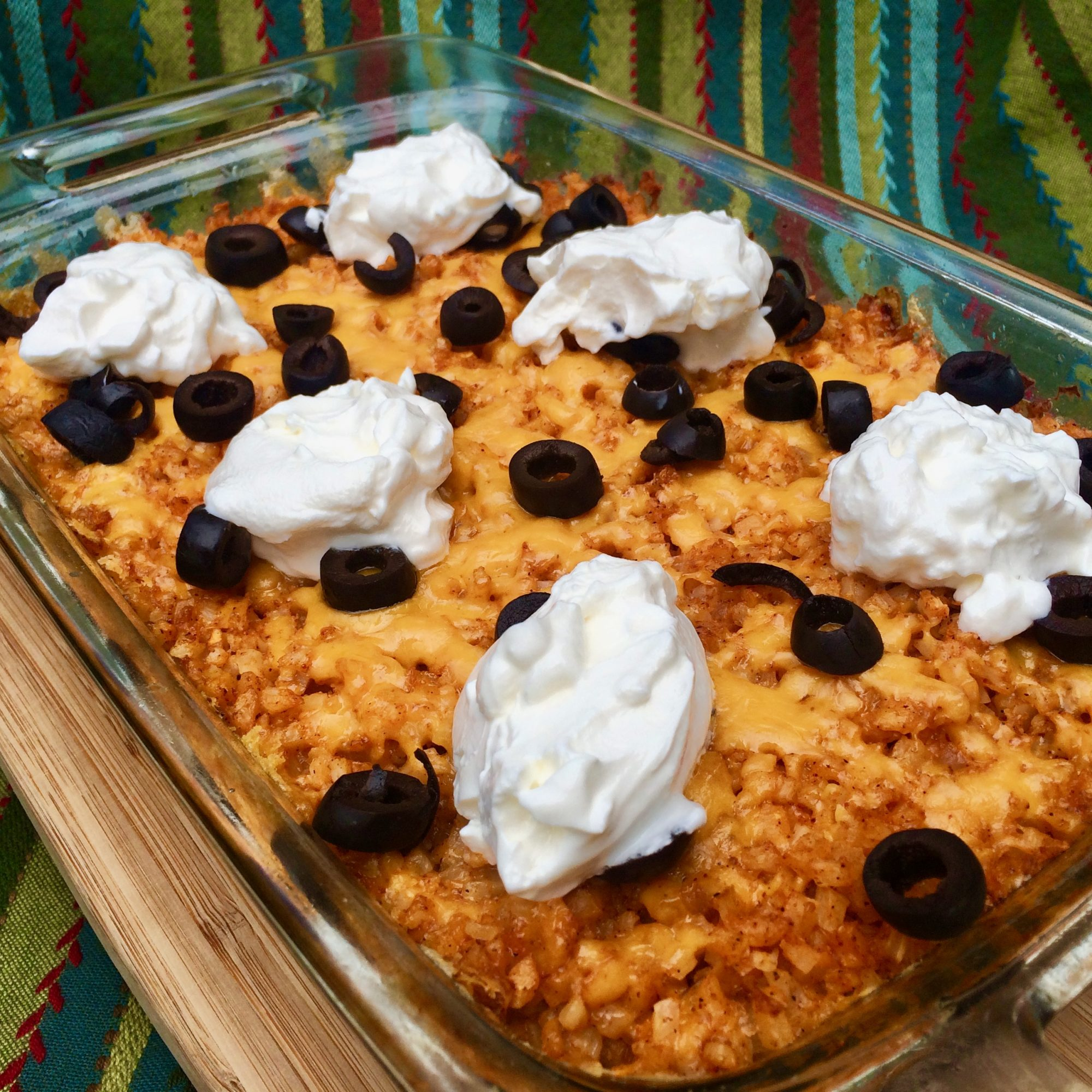 Keto Tex-Mex Ground Beef Casserole with sour cream and olives