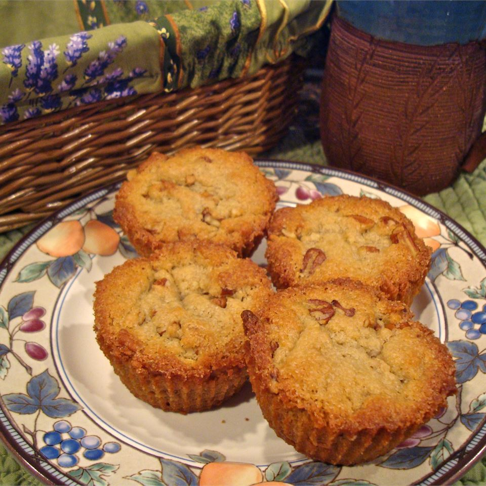 Pecan Pie Muffins on a floral plate