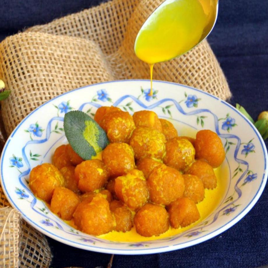 gnocchi made from kabocha squash topped with sauce
