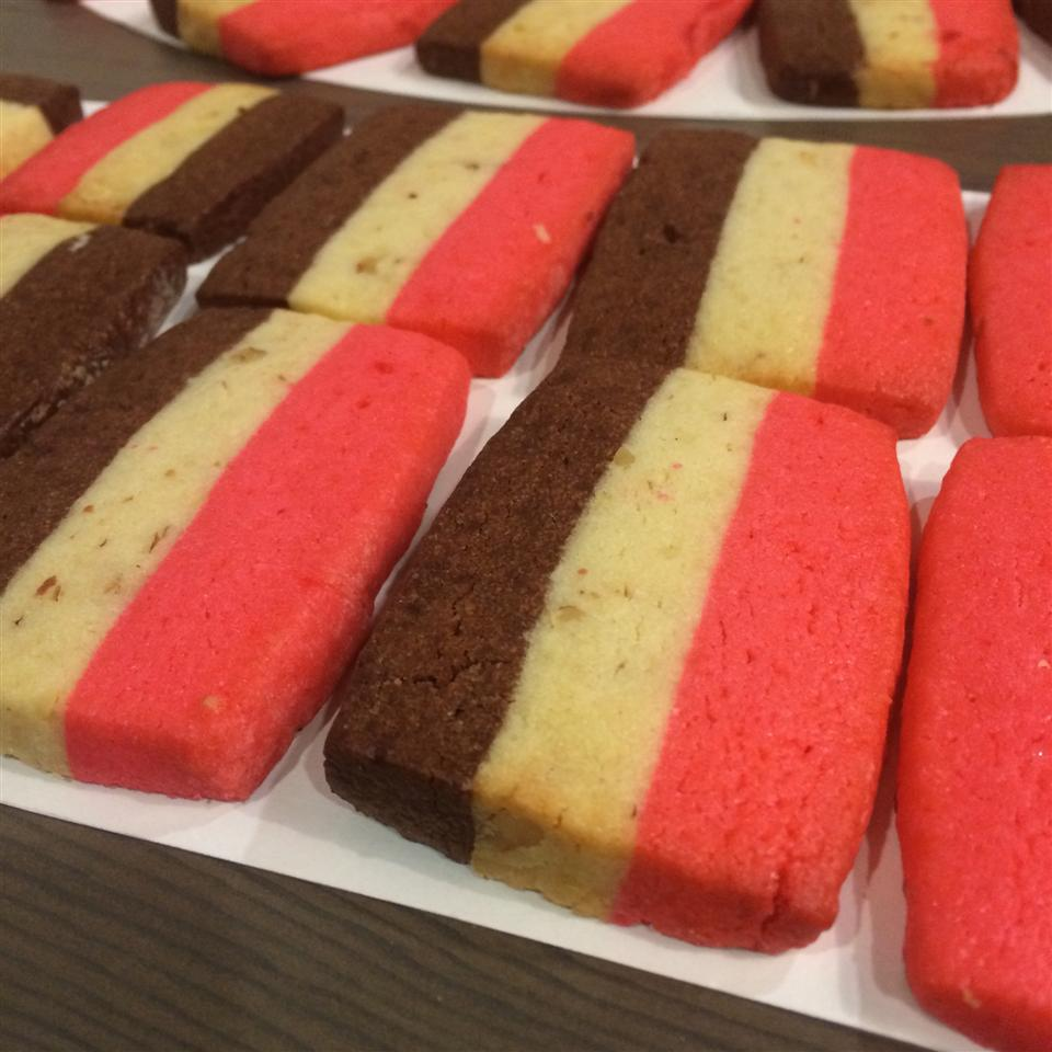 multicolored (cream, brown, and pink) sugar cookies