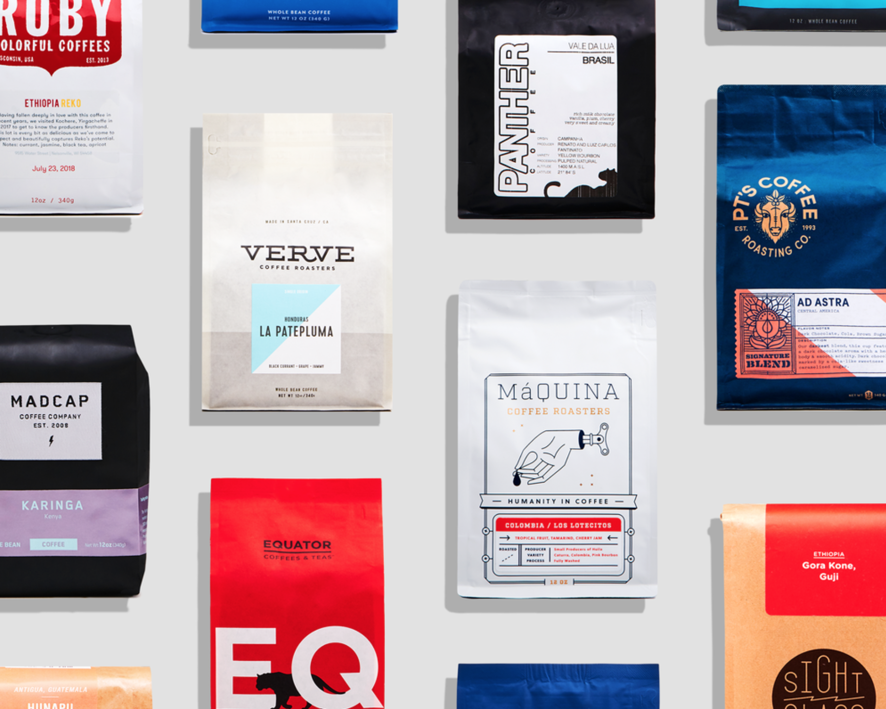 Multiple colorful bags of coffee
