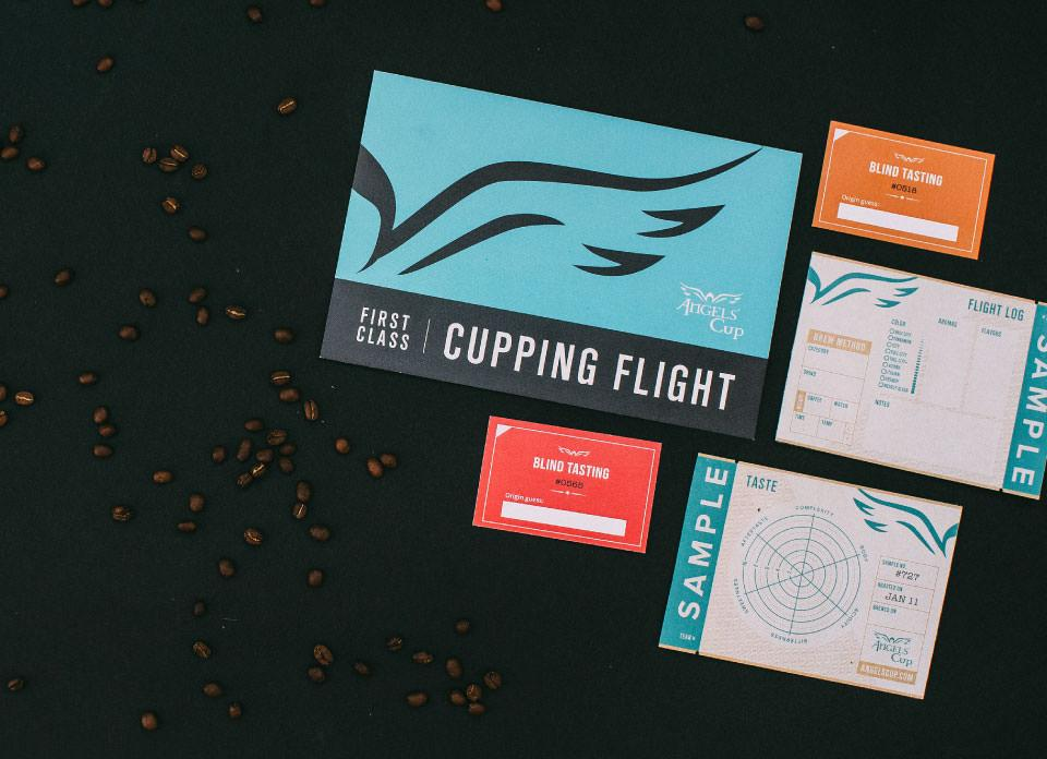 Angels' Cup coffee box with coffee beans